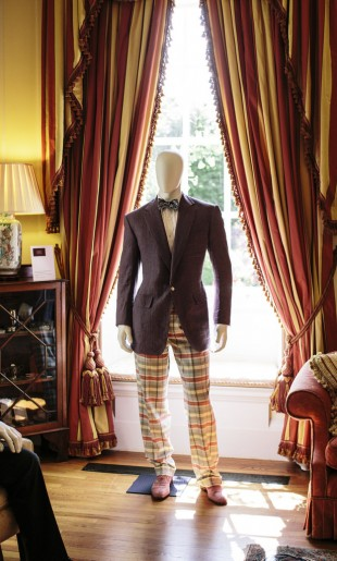 Casual Outfit, Linen Jacket and Check Multicoloured Trousers on display at the Savile Row Bespoke Exhibition at the British Ambassadors Residence in Washington DC, May 2015