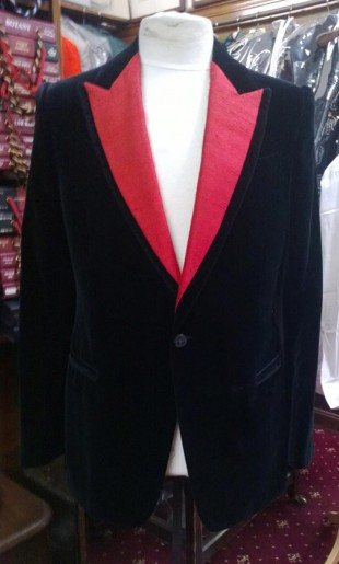 Velvet Evening Jacket With Silk Set In Facings